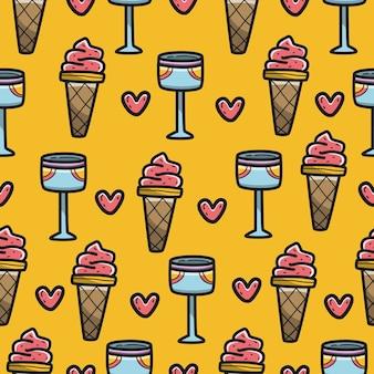 Desenho desenhado à mão sorvete desenho padrão