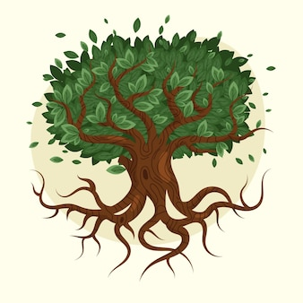 Desenho desenhado à mão vida na árvore
