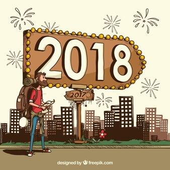 Desenho desenhado ano novo 2018 background