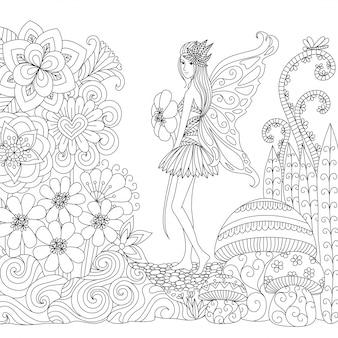 Desenho desenhado de fadas e flores de fundo