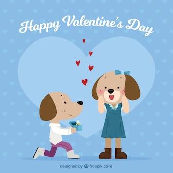 Desenho desenhado do dia dos namorados com cães