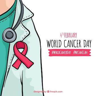 Desenho desenhado do mundo do dia do câncer
