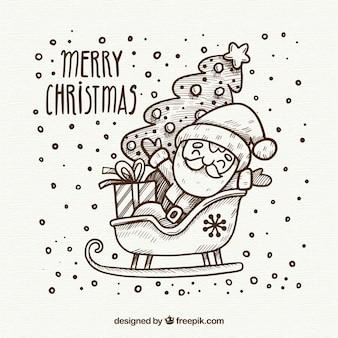 Desenho desenhado mão do natal com santa no slede