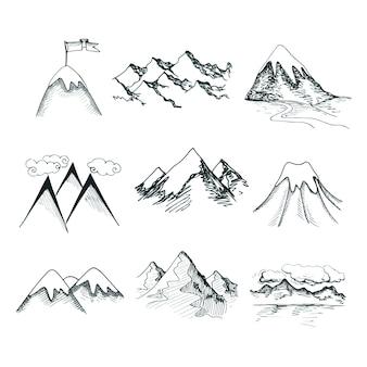 Desenho desenhado, neve, gelo, montanha, topos, decorativo, ícones, isolado, vetorial, ilustração