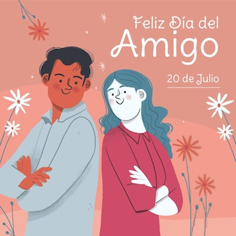 Desenho dia del amigo - ilustração 20 de julho