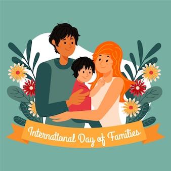 Desenho dia internacional do conceito de famílias
