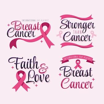 Desenho dia internacional plano contra coleção de rótulos de letras de câncer de mama