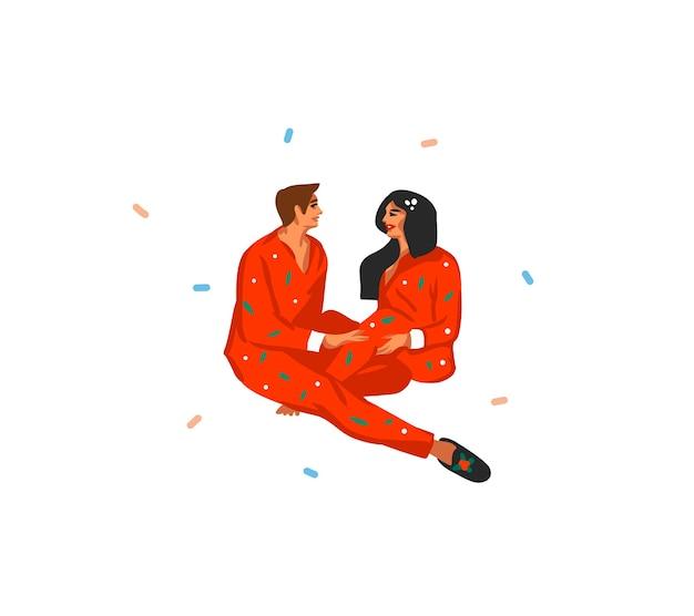 Desenho divertido estoque plano feliz natal cartoon ilustração festiva de casal de natal desempacotar presentes em casa juntos isolados.