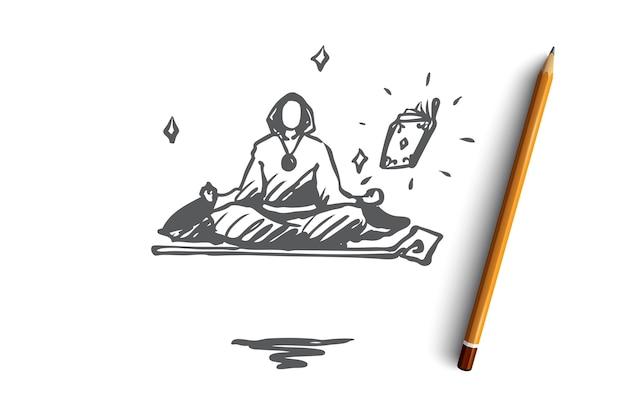 Desenho do assistente desenhado à mão meditando em levitação