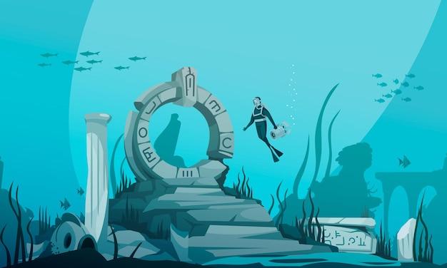 Desenho do atlantis submerso debaixo d'água com ruínas antigas e ilustração do personagem do motorista