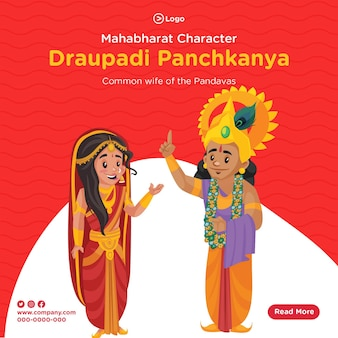Desenho do banner do personagem draupadi panchkanya do mahabharat