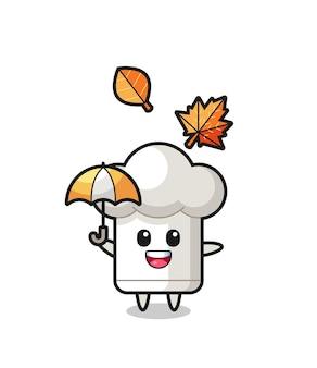 Desenho do chapéu de chef fofo segurando um guarda-chuva no outono, design de estilo fofo para camiseta, adesivo, elemento de logotipo