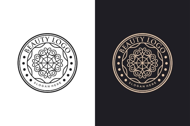 Desenho do círculo vintage do logotipo da flor da beleza