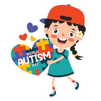 Desenho do conceito de consciência do autismo