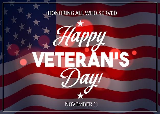 Desenho do dia dos veteranos com a bandeira dos eua no fundo