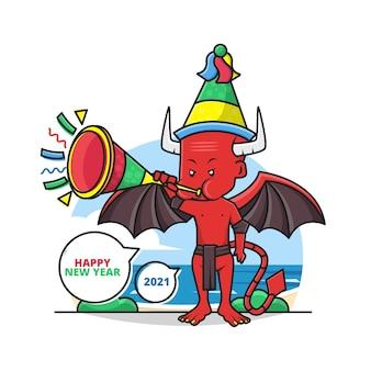 Desenho do diabo fofo use um chapéu de festa e toque a trombeta desejando a você um feliz ano novo 2021