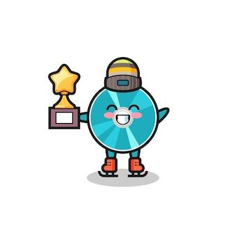 Desenho do disco óptico como um jogador de patinação no gelo segura o troféu do vencedor, design de estilo fofo para camiseta, adesivo, elemento de logotipo