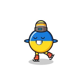 Desenho do distintivo da bandeira da ucrânia como um jogador de patinação no gelo fazendo performance, design de estilo fofo para camiseta, adesivo, elemento de logotipo