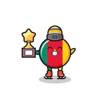 Desenho do distintivo da bandeira dos camarões como um jogador de patinação no gelo segura o troféu do vencedor, design de estilo fofo para camiseta, adesivo, elemento de logotipo