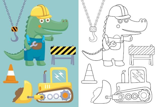 Desenho do elemento de construção com crocodilo feliz
