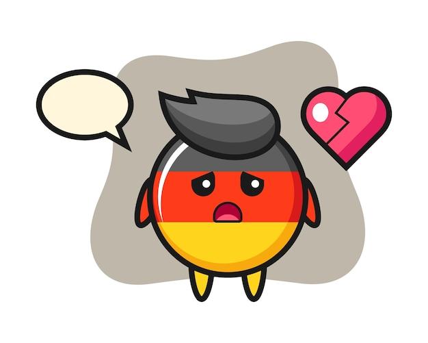 Desenho do emblema da bandeira da alemanha com o coração partido