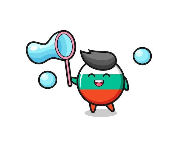 Desenho do emblema da bandeira da bulgária feliz jogando bolha de sabão, design de estilo fofo para camiseta, adesivo, elemento de logotipo