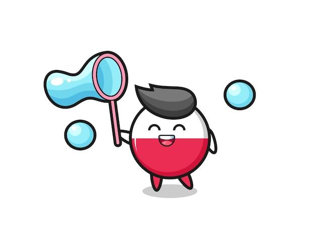 Desenho do emblema da bandeira da polônia feliz jogando bolha de sabão, design de estilo fofo para camiseta, adesivo, elemento de logotipo