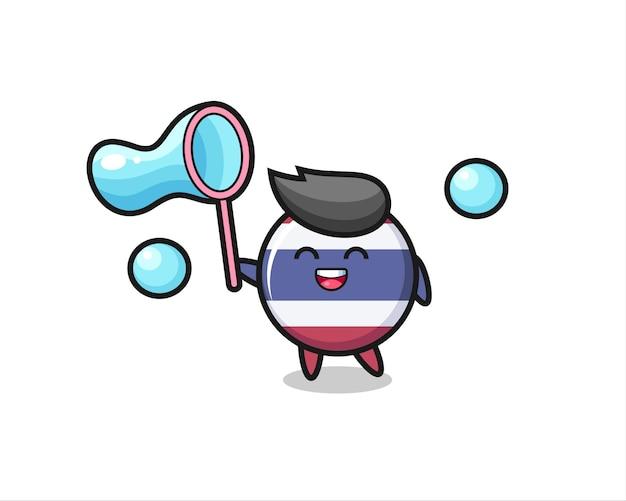 Desenho do emblema da bandeira da tailândia feliz jogando bolha de sabão, design de estilo fofo para camiseta, adesivo, elemento de logotipo