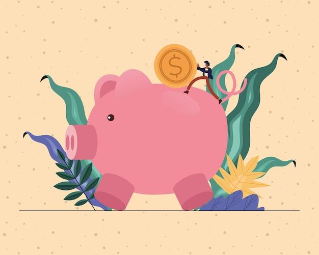 Desenho do empresário com ilustração do tema moeda e porquinho, negócios e gestão