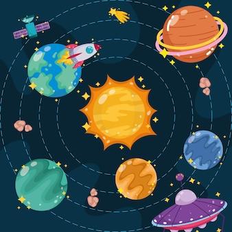 Desenho do espaço solar, planetas do sistema solar e nave espacial exploram a ilustração