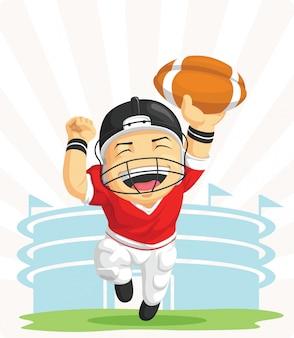 Desenho do feliz jogador de futebol americano