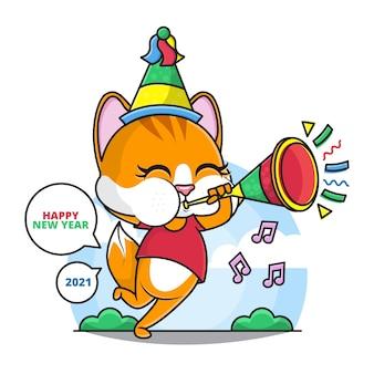 Desenho do gato fofo use um chapéu de festa e toque a trombeta desejando a você um feliz ano novo 2021