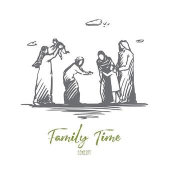 Desenho do grande esboço do conceito das gerações antigas e jovens da família muçulmana