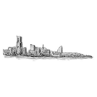 Desenho do horizonte da cidade scape show