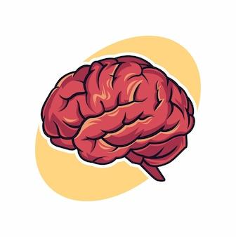 Desenho do ícone do símbolo dos desenhos animados do cérebro. bela ilustração isolada