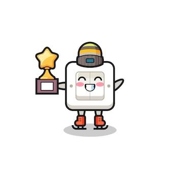 Desenho do interruptor de luz como um jogador de patinação no gelo segura o troféu do vencedor, design de estilo fofo para camiseta, adesivo, elemento de logotipo