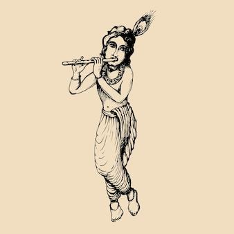 Desenho do jovem deus krishna. fundo de janmashtami feliz. ilustração vetorial desenhada para cartão de felicitações, cartaz do festival etc.