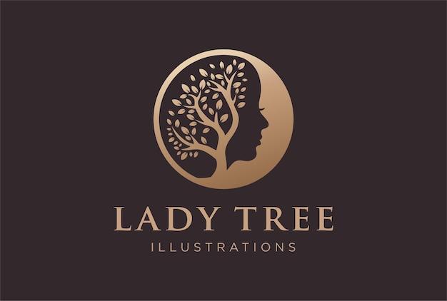 Desenho do logotipo da árvore da senhora em uma cor dourada.