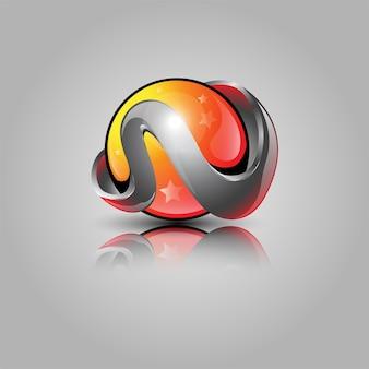 Desenho do logotipo da bola 3d