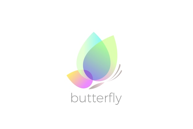 Desenho do logotipo da borboleta isolado no branco