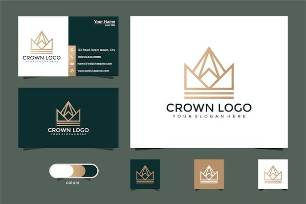 Desenho do logotipo da coroa com estilo de linha e cartão de visita