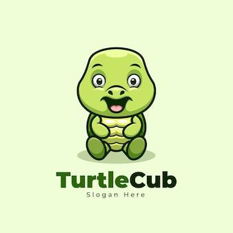 Desenho do logotipo da mascote do filhote de tartaruga sentado fofo