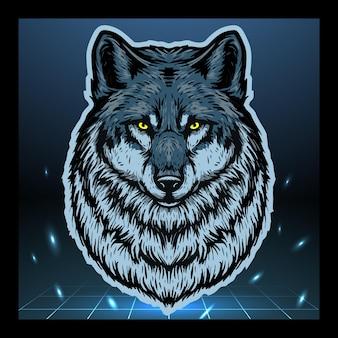 Desenho do logotipo do mascote da cabeça de lobo
