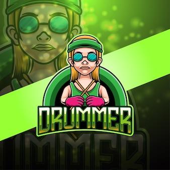 Desenho do logotipo do mascote do baterista