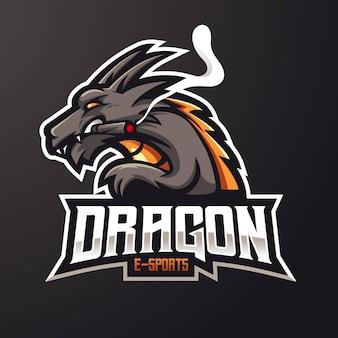 Desenho do logotipo do mascote do dragão isolado em cinza