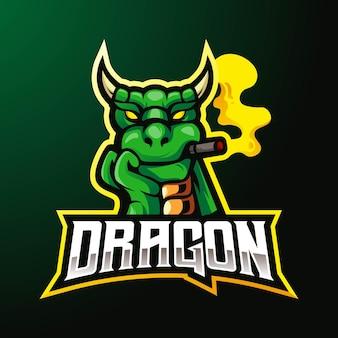 Desenho do logotipo do mascote do dragão isolado em verde