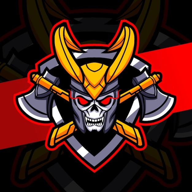 Desenho do logotipo do mascote do rei crânio escuro