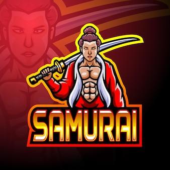 Desenho do logotipo do mascote samurai e sport