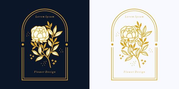 Desenho do logotipo vintage botânico de flor rosa e elemento de marca de beleza feminina