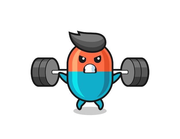 Desenho do mascote cápsula com uma barra, design de estilo fofo para camiseta, adesivo, elemento de logotipo